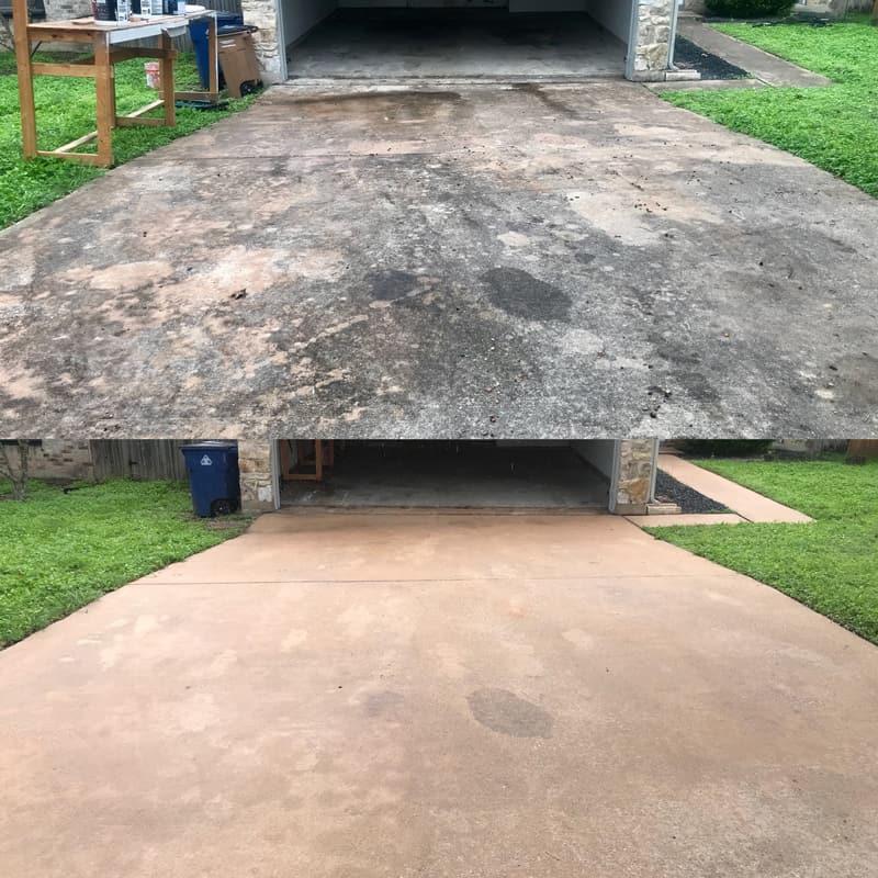 dirty oil driveway pressure wash