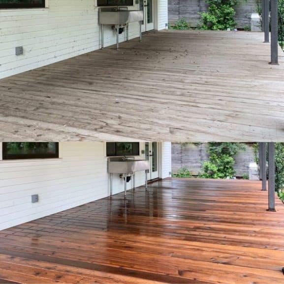 professional cedar deck pressure wash