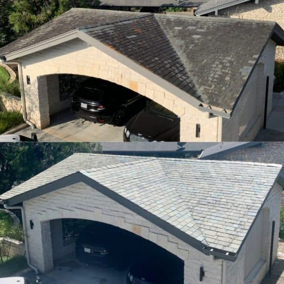 professional slate stone roof soft wash