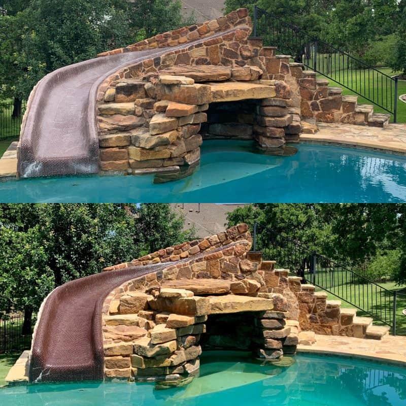 tile pool slide pressure wash and seal